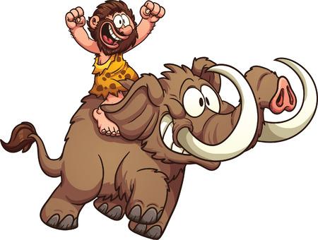 hombre prehistorico: Hombre de las cavernas que monta un mamut. Vector de imágenes prediseñadas ilustración con gradientes simples. Todo en una sola capa.