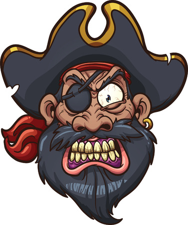 Angry cartoon pirate face. Vector clip art illustration with simple gradients. All in a single layer.