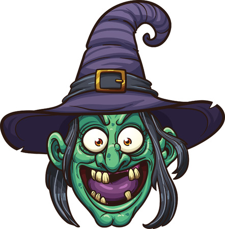 halloween cartoon: Cartoon witch face.