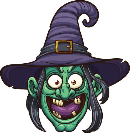 green face: Cartoon witch face.