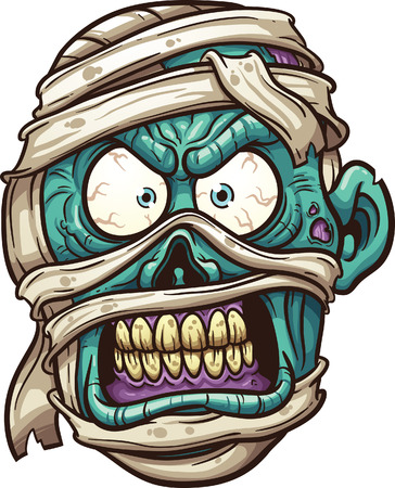 zombie: Angry mummy face.