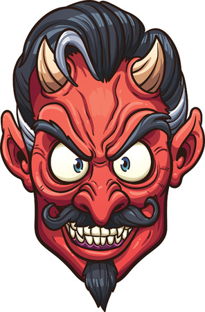Evil devil face. Vector clip art illustration with simple gradients. All in a single layer. Ilustracja