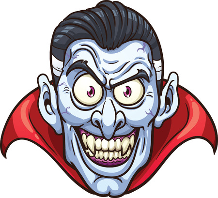 cartoon vampire: Vampire face.  Illustration