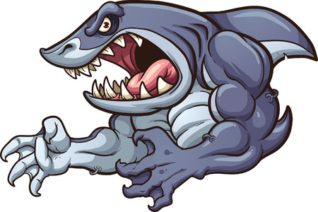 Raging strong shark.