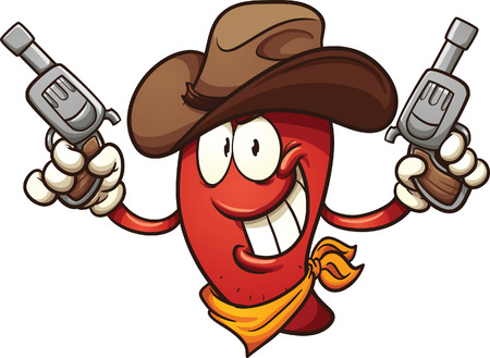 Cowboy chili pepper holding two revolvers. Vector clip art illustration with simple gradients. All in a single layer. Stock Illustratie