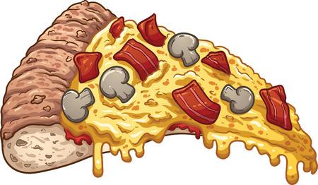 Slice of bacon pizza.  Illustration
