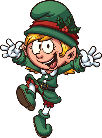 elf christmas: Happy Christmas Elf. Vector clip art illustration with simple gradients. All in a single layer.