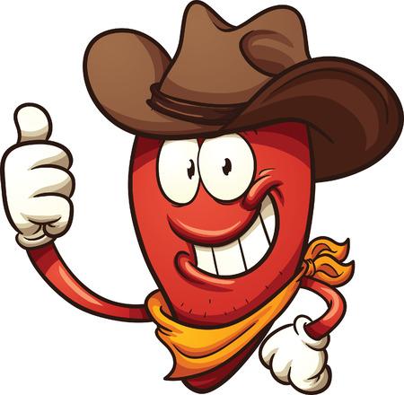 Cowboy Chili-Pfeffer. Vektor Clip Art Illustration mit einfachen Farbverläufen. Alle in einer einzigen Schicht.