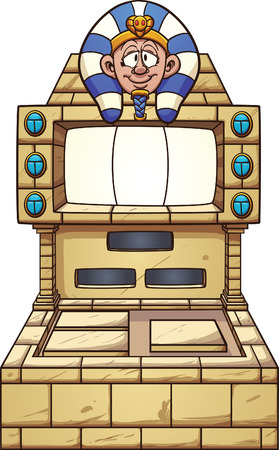machine: Ancient Egypt themed slot machine. Vector clip art illustration with simple gradients. Pharaohs head, console and gems on separate layers.