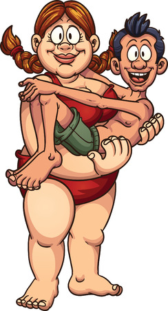 Fat woman carrying a thin man in a swimsuit. Vector clip art illustration with simple gradients. All in a single layer.