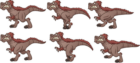 Cartoon walking T-rex ready for animation. Vector clip art illustration with simple gradients. Each frame on a separate layer. Иллюстрация
