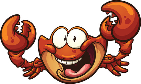 Happy cartoon crab. Vector clip art illustration with simple gradients. All in a single layer.