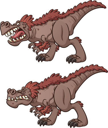 Cartoon tyrannosaurus roaring and biting. Vector clip art illustration with simple gradients. Each on a separate layer. Ilustrace