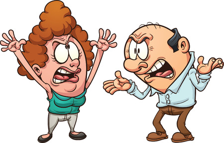 middle age women: Couple arguing. Vector clip art illustration with simple gradients. Each on a separate layer.