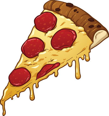 Salami pizza slice. clip art illustration with simple gradients. All in a single layer. Vettoriali