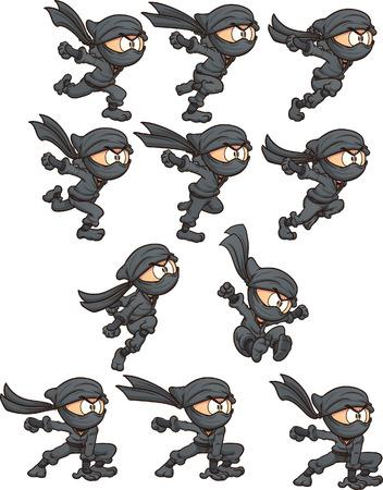 漫画忍者アニメーション用に準備します。簡単なグラデーション ベクター クリップ アート イラスト。別のレイヤー上の各。  イラスト・ベクター素材