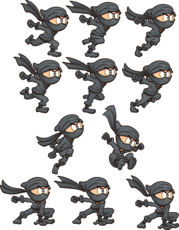 Cartoon ninja ready for animation. Vector clip art illustration with simple gradients. Each on a separate layer. Vettoriali