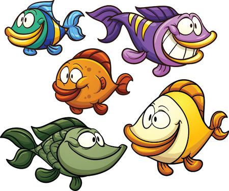 peces caricatura: Pescados coloridos dibujos animados. Vector de imágenes prediseñadas ilustración con gradientes simples. Cada uno en una capa separada. Vectores