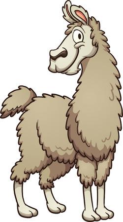 llama: Smiling cartoon llama. Vector clip art illustration with simple gradients. All in a single layer.