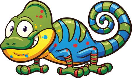 Cartoon chameleon. Vector clip art illustration with simple gradients. All in a single layer. Illustration