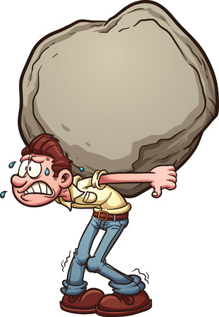 Man carrying a heavy burden, a huge rock. Vector clip art illustration with simple gradients. Man and rock on separate layer.