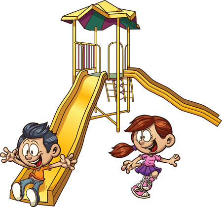 cartoon: Cartoon kids playing on a slide. Vector clip art illustration with simple gradients. Each on a separate layer.