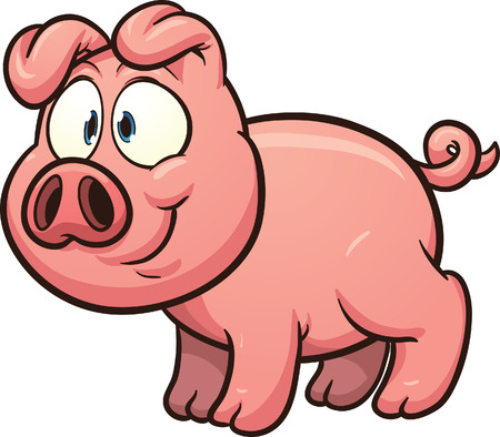 Little cartoon pig. Vector clip art illustration with simple gradients. All in a single layer. Ilustracja