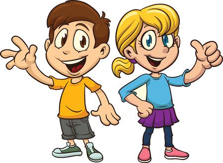 Cartoon jongen en meisje zwaaien. Vector clip art afbeelding met eenvoudig verlopen. Elk op een afzonderlijke laag.