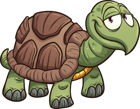 tortuga caricatura: Tortuga de dibujos animados. Vector de imágenes prediseñadas ilustración con gradientes simples. Todo en una sola capa. Vectores
