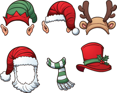 Christmas hats and scarf. Vector clip art illustration with simple gradients. Each on a separate layer. Çizim