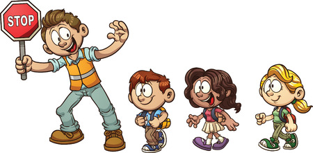 """Guardia de cruce niños ayudando a cruzar la calle. Vector de imágenes prediseñadas ilustración con gradientes simples. Cada en una capa separada. Texto """"Stop"""" en una capa diferente de la señal."""