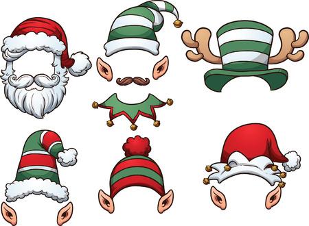 Cappelli Cartoon Natale. Vector clip art illustrazione con gradienti semplici. Ogni su un livello separato. Vettoriali