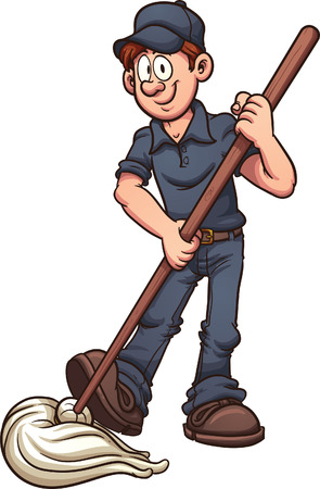 janitor: Cartoon janitor. Vector clip art illustration with simple gradients. All in a single layer.