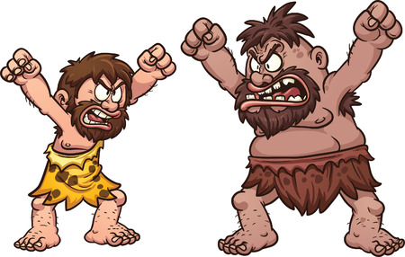 A couple of cavemen arguing. Vector clip art illustration with simple gradients. Each on  a separate layer.