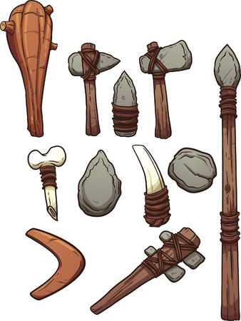 Prehistoric weapons. Vector clip art illustration with simple gradients. Each on a separate layer. Illustration