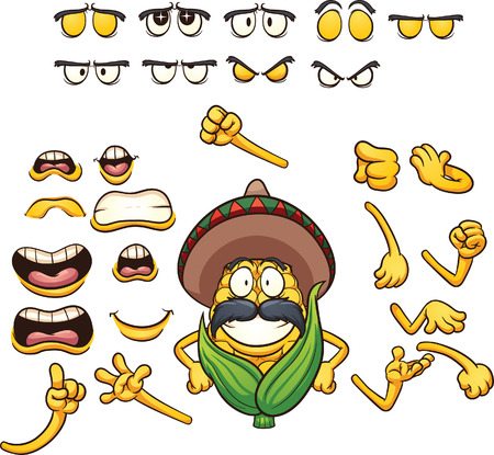 sombrero cartoon: Mexican posable corn character ready for animation. Vector clip art illustration with simple gradients. Each element on a separate layer.