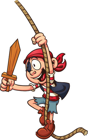 Cartoon pirate swinging on a rope. Vector clip art illustration with simple gradients. All in a single layer.