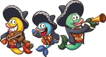 mariachi: Cartoon mariachi fish. Vector clip art illustration with simple gradients. Each on a separate layer.