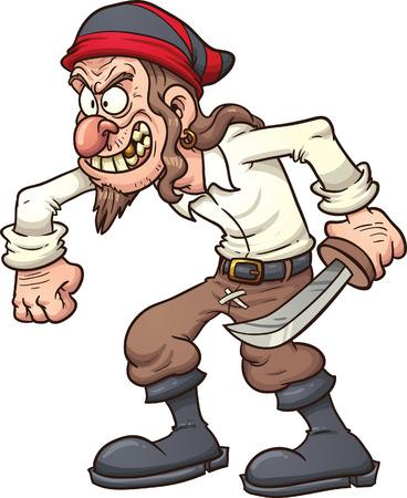 Crazy cartoon pirate.