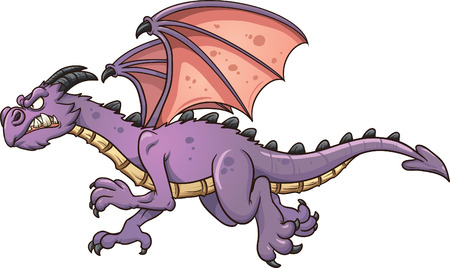 cartoon dragon: Flying cartoon dragon. Vector clip art illustration with simple gradients. All in a single layer.
