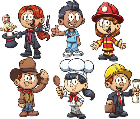 Kids using costumes from different occupations. Vector clip art illustration with simple gradients. Each on a separate layer.