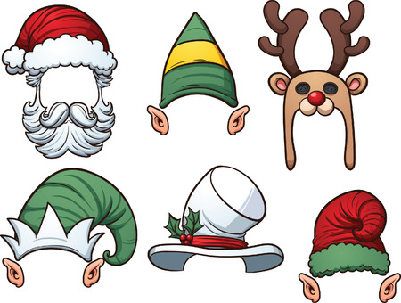 Cartoon Christmas hats. Vector clip art illustration with simple gradients. Each item on a separate layer. Illustration