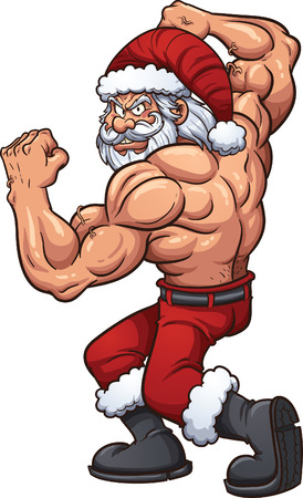 강한 만화 산타 클로스입니다. 간단한 그라데이션 벡터 클립 아트 그림입니다. 모두 하나의 레이어에 있습니다.