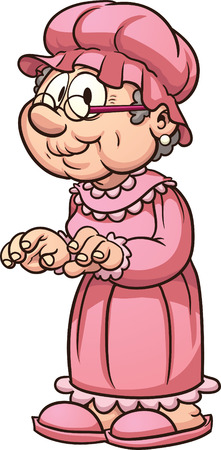 Cartoon grandma wearing pajamas. Vector clip art illustration with simple gradients. All in a single layer. Ilustracja