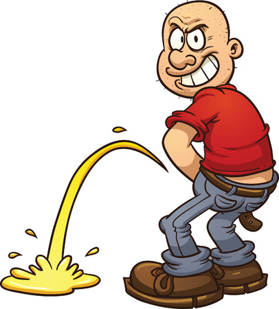 Mischievous man peeing, Vector clip art illustration with simple gradients. All in a single layer.