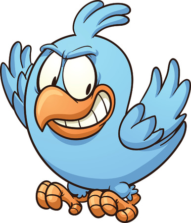 Evil blue bird looking down. Vector clip art illustration with simple gradients. Illustration