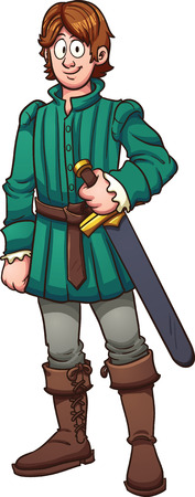 Cartoon medieval prince. Vector clip art illustration with simple gradients. All in a single layer.