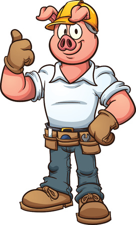 all in: Construction worker pig. Vector clip art illustration with simple gradients. All in a single layer. Illustration