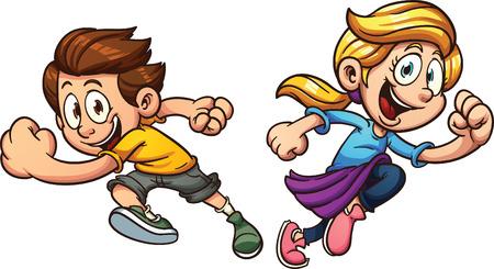 Niños felices corriendo. Vector de imágenes prediseñadas ilustración con gradientes simples. Cada uno en una capa separada. Ilustración de vector