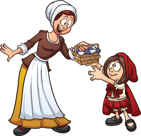 Little Red Riding hood getting a basket from her mother. Vector clip art illustration with simple gradients. Each character on a separate layer.